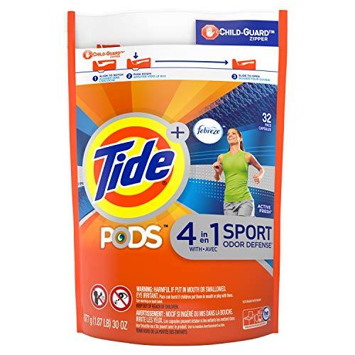 Tide Pods Febreze Sport Defensa de olores, 32 unidades de detergente para lavandería