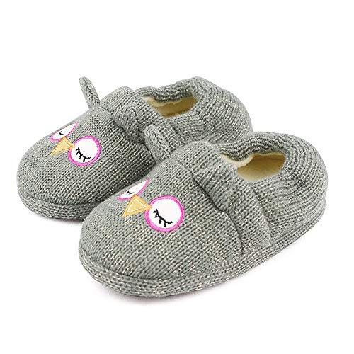 Lacofia Pantuflas Animales de Invierno para niña o niño Zapatillas de casa de búho Gris 26/27