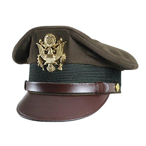 US Army Officers WW2 Schirmmütze, Crush-Stil, Schirmmütze, Olivgrün Gr. XL (60-61 cm), olivgrün