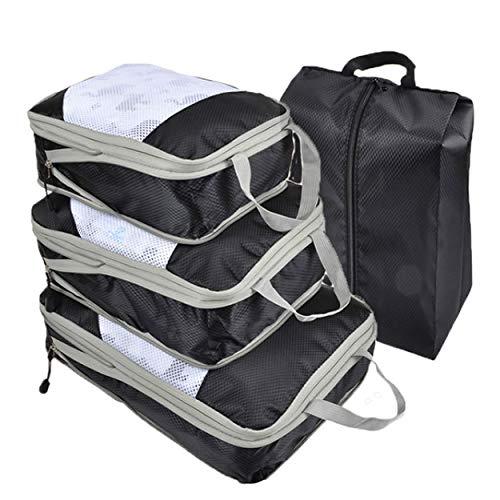 旅行 圧縮バッグ 4点セット トラベル 圧縮袋 トラベルポーチ 収納 圧縮 バッグ ファスナー 大容量 衣類 仕分け 軽量 撥水 旅行 出張 整理 ダブルジップ シューズ袋 S&E (ブラック)