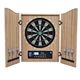 Diana Electrónica con Puertas, Juego de Dardos Electrónico con Pantallas de LED18 Juegos para 16 Jugadores para Fiestas, Unisex Adulto,Wood