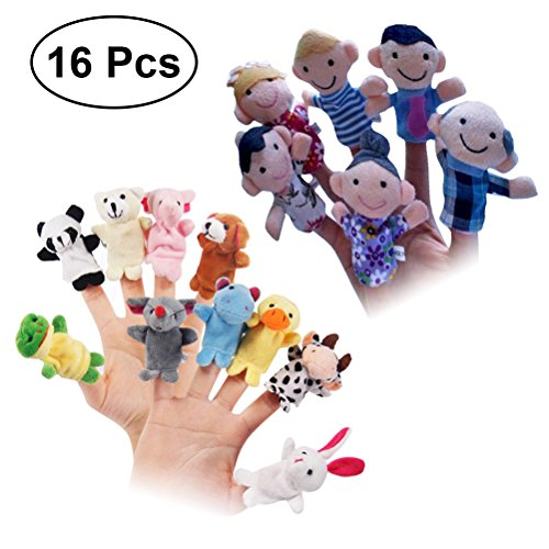 TOYMYTOY 16pcs Finger Puppets Story Time Finger Doll