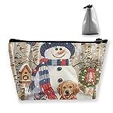 Bolsa de almacenamiento portátil para gatitos y cachorros con muñeco de nieve bolsa de maquillaje organizador de viaje maquillaje tren caso cosmético caso organizador bolsa