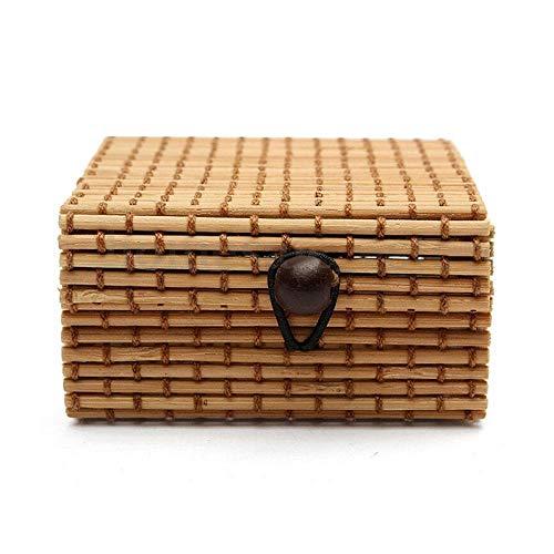 WSS Shoes Jaboneras Jabón de baño del Plato Weaving Almacenamiento de bambú Collar de la Caja de joyería de Maquillaje cosmético Soporte del contenedor-Rosa roja Perfecto para Regalo (Color : Coffee)