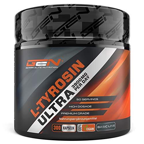L-Tyrosin Ultra - 300 vegane Kapseln mit 3900 mg pro Tagesportion (4 Kapseln) - Premium Aminosäure aus pflanzlicher Fermentation - Laborgeprüft - Vegan - Hochdosiert