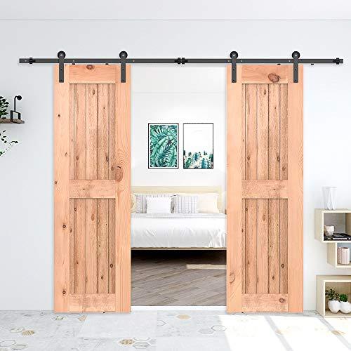 182cm/6FT Kit puerta granero herraje corredera,Puerta de Granero Corredera de Madera, Herraje para Puertas Corredizas Interiores,puerta doble