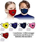 VENEZIANO Mascherine con Filtro Removibile Misura per Bambini da Italia 24-48 Ore, Mascherina Non sterile 5 Strati ai Carboni Attivi Marchio Enhance (1 Mascherina + 2 Filtri) Giallo