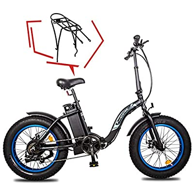 """ECOTRIC 20"""" Powerful Folding Electric Bicycle Fat Tire Alloy Frame 500W 36V/12.5AH Lithium Battery Ebike Rear Motor LED Display (Black) w/Free Rear Rack"""