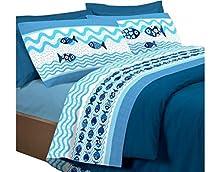 HomeLife Juego de sábanas de algodón con Peces Fundas de Almohada   Sábana encimera de 250x300, sábana Bajera de 180x200, 2 Fundas de 52x82 – Azul, Cama de 180cm