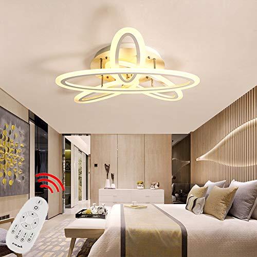 Zozmy LED Deckenleuchte Dimmbare Moderne Wohnzimmer Lampe 4-Ring Design mit Fernbedienung Deckenlampe Metall Acryl Lampenschirm Schlafzimmer Lampe Villa Hotel Dekorativelampe Ø100cm 90W