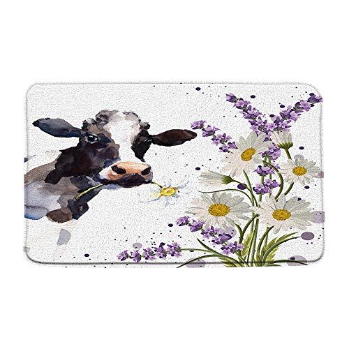 AMFD Farm Cow Bath Mat Watercolor Funny Milk Cow with White Daisy Purple Lavender Rustic Farmhouse Soft Bathroom Shower Mat Kitchen Rug Microfiber Memory Foam 20x31 Inches