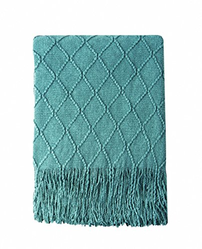 Bourina Textured Solid Soft Sofa Throw Couch Cover Knitted Decorative Blanket, 50' x 60',Dark Cyan