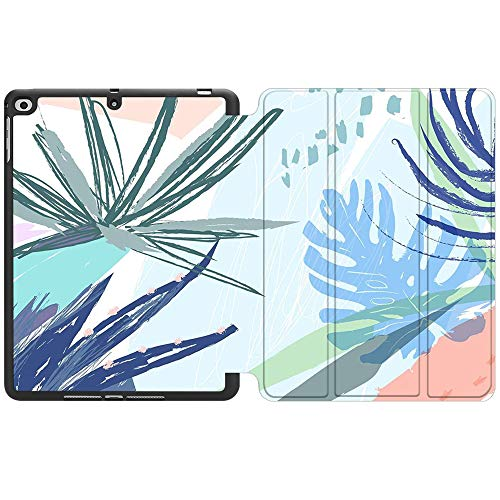 SDH New iPad 9.7 Inch 2018 2017 Case with Pencil Holder, iPad Air 1 / iPad Air 2 Smart Cover Folio Stand Protective for Apple iPad 5th 6th Gen Case (A1822/A1823/A1893/A1954), Abstract Plants 8
