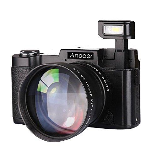 Andoer CDR2 1080P 15 fps Full HD Appareil Photo 24MP numérique 3.0 Écran Rotatif LCD Anti-Shake 4X...