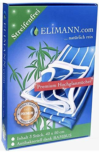 Elimann® Premium Bambus Hochglanz Reinigung Tücher putzen, trocknen und polieren alle Oberflächen absolut fussel- und streifenfrei. 3er Set 50 x 40 cm