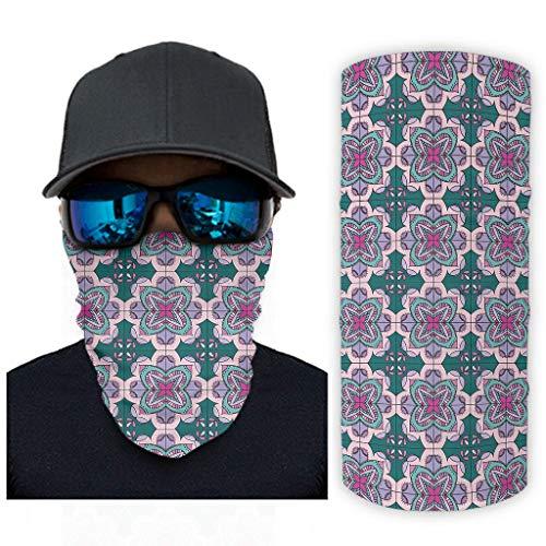Fineiwillgo Pañuelo de cuello con diseño de mandala, para mujer, multifunción, con protección UV, para deportes al aire libre, escalada, color blanco, talla única