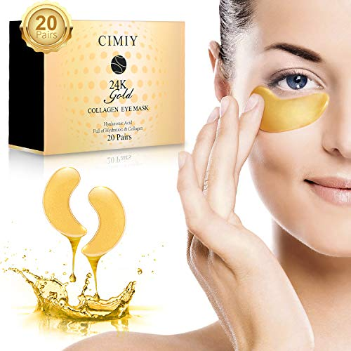 Under Eye Mask - 24K Gold Collagen Under Eye Patches for Dark Circles/Puffy Eyes/Wrinkles/Bags Under Eyes, Hydrated Under Eye Pads Skin Care Treatment (20 Pairs)