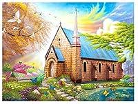 5DDIYフルスクエアダイヤモンドペインティング穏やかな教会ダイヤモンドペインティングキットクロスステッチラインストーンモザイク家の装飾30x40cm