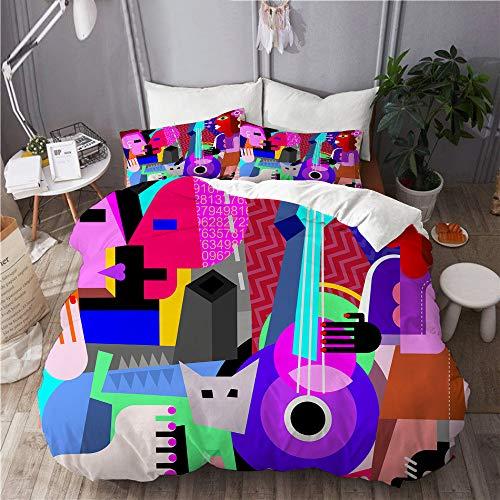 JOSENI Juego de Ropa de Cama con Funda de edredón, de Microfibra, Picasso La Pareja de Baile y la Mujer Tocando la Guitarra Danza Fina Cubismo Abstracto,con 2 Fundas de Almohada,240x260