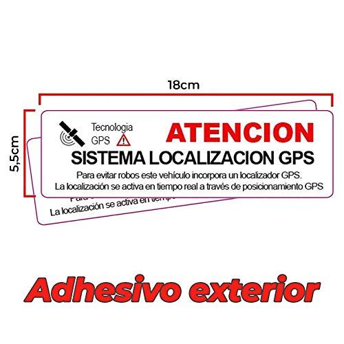 2 Pegatinas disuasorias localizador GPS vehiculos. Aviso Castellano Coches alquiler, adhesivos localizacion por satélite GPS Facil instalar (Exterior Grande)