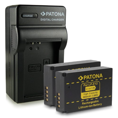 M&L Mobiles® | Novedad - 4in1 Cargador + 2x Batería como LP-E12 LPE12 con Infochip · 100% compatible con Canon EOS M