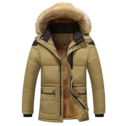 Heren gewatteerde jas winterjas mannen rits winter warme vrije tijd overgang pure kleur modieuze completi zak open een hoed dikke lange donsjassen katoen mantel sale zwart