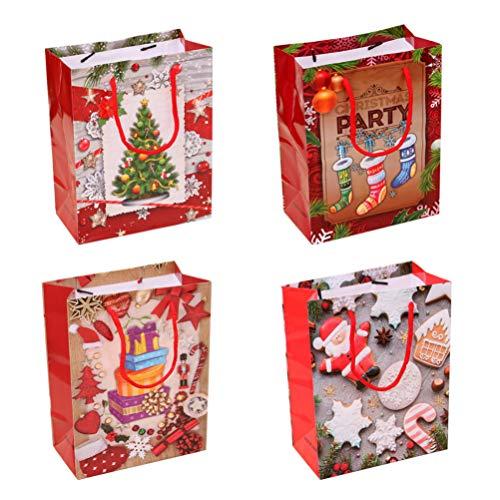 NUOBESTY 4 Stück Weihnachtliches Geschenk Papiertüten tragbar Party Gastgeschenke Weinbeutel Aufbewahrungstasche für Alkohol Kleidung Candy Shopping