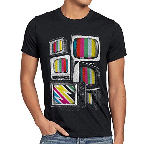style3 Vintage Testbild Herren T-Shirt Monitor Retro Fernseher tv, Größe:XXL, Farbe:Schwarz