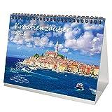 Kroatienzauber DIN A5 Tischkalender für 2021 Kroatien - Geschenkset Inhalt: 1x Kalender, 1x Weihnachts- und 1x Grußkarte (insgesamt 3 Teile)