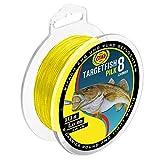 WFT TF8 Pilk gelb 220m - geflochtene Angelschnur zum Meeresangeln, Schnur zum Pilkangeln, Pilkschnur, Dorschschnur, Meeresschnur, Durchmesser/Tragkraft:0.18mm / 16kg Tragkraft