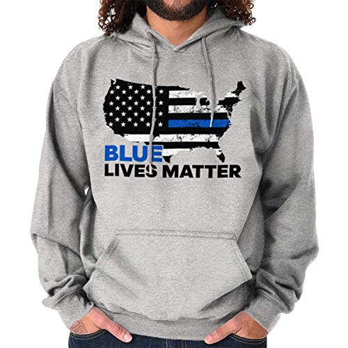 Blue Lives Matter Support USA Police Line Hoodie