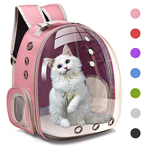 Henkelion Cat Backpack Carrier Bubble Carrying Bag, Small Dog Backpack Carrier for Small Medium Dogs Cats, Space Capsule Pet Carrier Dog Hiking Backpack, Airline Approved Travel Carrier - Pink