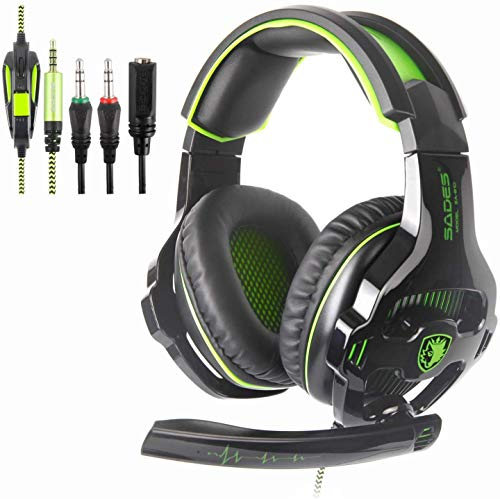SADES SA810 Newest Version New Xbox One, PS4 Gaming Headset with 3.5mm Wired Over-Ear Noise Isolating Microphone Volume Control for Mac/PC/Laptop/PS4/Xbox one [Green & Black]