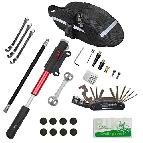 CHUMXINY Bicycle Repair Kit, Bike Tire Repair Tool Kit Contains 16-in-1 Tool, 120Psi Mini Bicycle Pump, Bicycle Tire Patch Kit, Used for Mountain Bike and Road Bike.