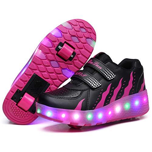 MNVOA Unisex Kinder Mode LED Schuhe mit Rollen Drucktaste Einstellbare Vibration Leuchten Skateboardschuhe Outdoor Gymnastik Turnschuhe Für Junge Mädchen,Rose,39EU
