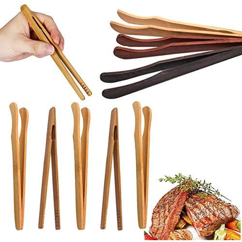 Liwein Bambuszangen, 12 Stück Bambuszange Holz Toastzange Bambus Küchenzange Klein Servierzange Grillzange Küche Lebensmittel Zangen für Kochen Toast Salat Brot Pickles Tee