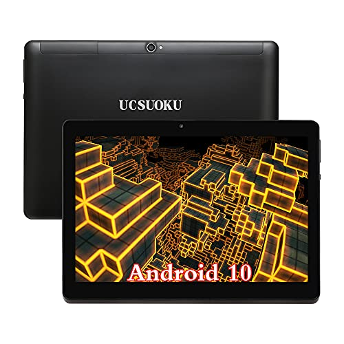 UCSUOKU Tablet 10 Pollici con WIFI, Android 10.0 System,Deca-Core Processor, 4 GB RAM, 64 GB di Memoria,4G LTE Phablet 10.1 Tablets PC IPS HD Display, Dual SIM, Bluetooth GPS Google Certified(Nero)