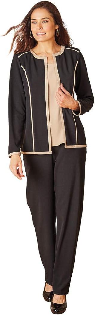 ANTHONY RICHARDS Women's 4-Piece Set - Jacket, Shell Top, Dress & Elastic Back Pants Black/Khaki 16 Women