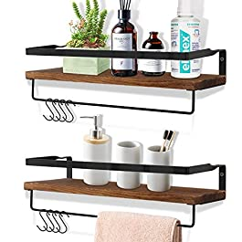 OurWarm Farmhouse Floating Shelves for Bathroom with 2 Towel Bars and 8 Removable Hooks, Small Wall Mounted Shelf Restroom Decor Towel Rack with Shelf, Rustic Kitchen Wooden Shelves for Wall, Set of 2