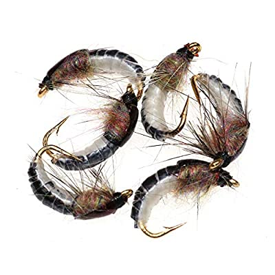 Greatfishing Super Sturdy Realistic Nymph Scud Flies, Popper Flies for Trout Nymph Beadhead Fishing Wet Assortment Flies Bug Worm Scud Looking