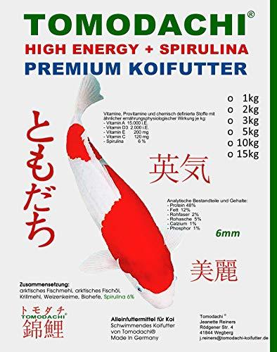 Spirulina Koifutter, hoch energiereiches Schwimmfutter für Koi jeden Alters, Tomodachi Premium Koifutter High Energy Plus Spirulina, 2kg, 6mm Koipellets