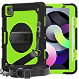 iPad Air 4 case 2020 for Kids | SIBEITU iPad 10.9 Inch case with Pencil Holder Screen Protector Shockproof | Hard Protective Cover w/Stand Hand&Shoulder Strap for A2072/ A2316/ A2324/A2325 | Green