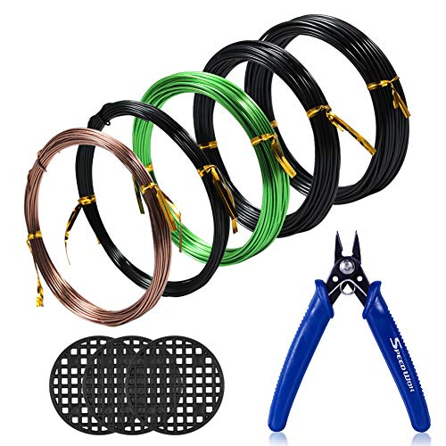 SPEEDWOX Bonsai Wire Set 5 Rolls with 3 Size 1mm 1.5mm 2mm Aluminum Wire Total 164 Feet Bonsai Wire Cutter 3pcs Round Flower Pot Hole Mesh Pad Tree Traning Kit Bonsai Tree Wire Kit Bonsai Kit