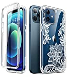 i-Blason Cosmo Series Case for iPhone 12 / iPhone 12 Pro 5G 6.1 inch (2020 Release), Slim Full-Body Stylish Protective Case with Built-in Screen Protector (Lace/White)