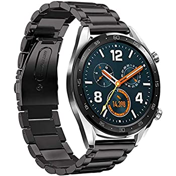 Amazon Com Hatalkin Compatible With Huawei Watch Gt 2 Band 22mm Adjustable Classic Wristband Stainless Steel Bands Compatible Huawei Watch Gt2 46mm Gt Sport Classic Ticwatch S2 Ticwatch E2 Smartwatch Black