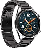 HATALKIN Compatible with Huawei Watch GT 2 Band,22mm Adjustable Classic Wristband Stainless Steel Bands Compatible Huawei Watch GT2 46mm / GT Sport/Classic/ Ticwatch S2 &Ticwatch E2 Smartwatch (Black)