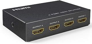 HDMI Splitter 1 in 4 Out - DCSEC 4K HDMI Ver1.4 HDCP, HDMI Splitter Amplifier Distributor Supports 3D 4K@30Hz Full HD1080P...