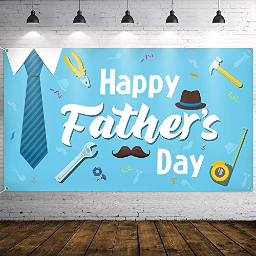 """WATINC Happy Father's Day Backdrop Banner 78"""" x 45"""" Extra Large Blue Background Banners Shirt Tie Hat Moustache Polyester Backdrops Party Decorations Photo Booth Prop for Indoor Outdoor"""