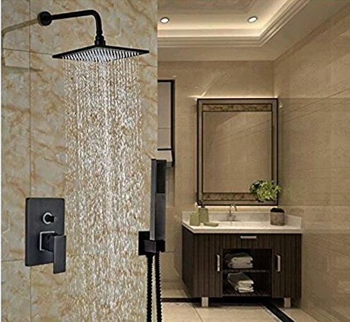Bijjaladeva Antieke badkamer regendouche kraan systeem tippen douche handheld volledig koper zwart inbouw douchekop en koude waterkraan