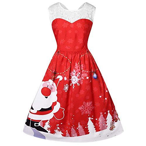 potente para casa Vestido de Navidad de LUNULE, vestido de Navidad de encaje de Santa Claus para mujer …